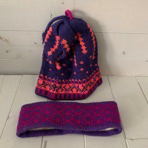 Vintage 80's Wool Ski Hat with Tassels & Headband